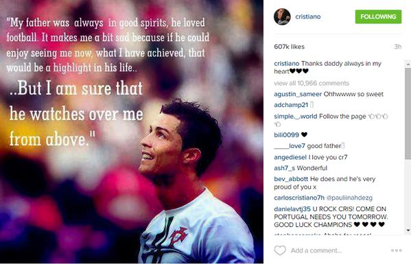 #كريستيانو_رونالدو يستذكر والده ويتمنى لو كان موجودا ليشاركه نجاحه #كوره #ريال