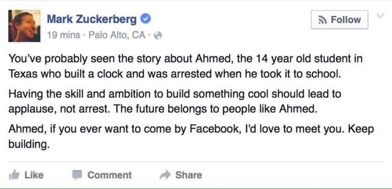 Zukerberg invites Ahmed to meet him #IStandWithAhmed