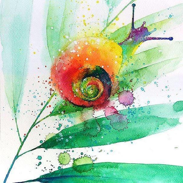سحر #الألوان_المائية في لوحات الرسام السنغافوري #تيلان_تي #غرد_بصوره 12