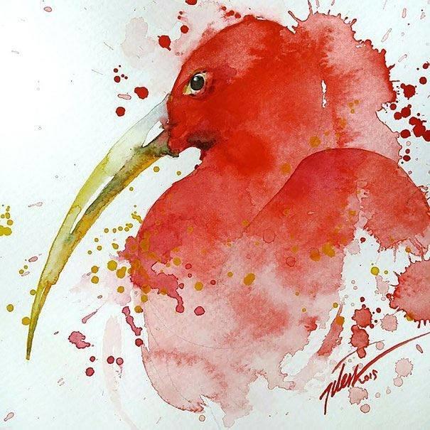 سحر #الألوان_المائية في لوحات الرسام السنغافوري #تيلان_تي #غرد_بصوره 3