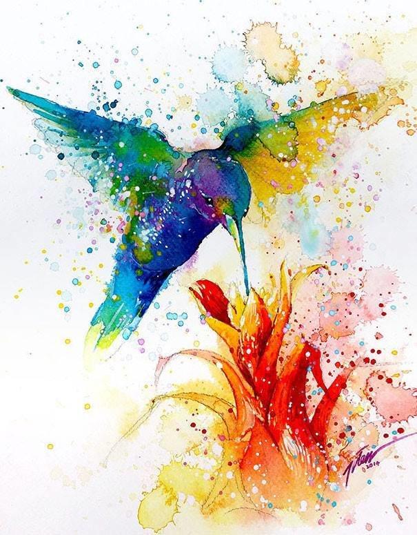 سحر #الألوان_المائية في لوحات الرسام السنغافوري #تيلان_تي #غرد_بصوره 8