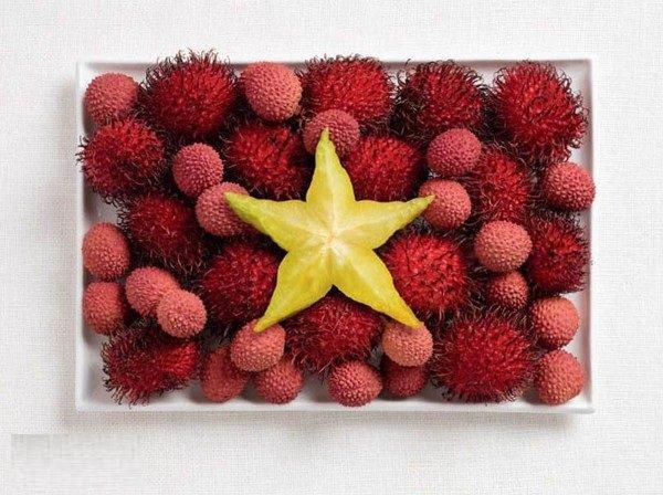 علم #فيتنام بالرامبوتان وفاكهة الليتشي والفاكهة النجمية starfruit #غرد_بصورة