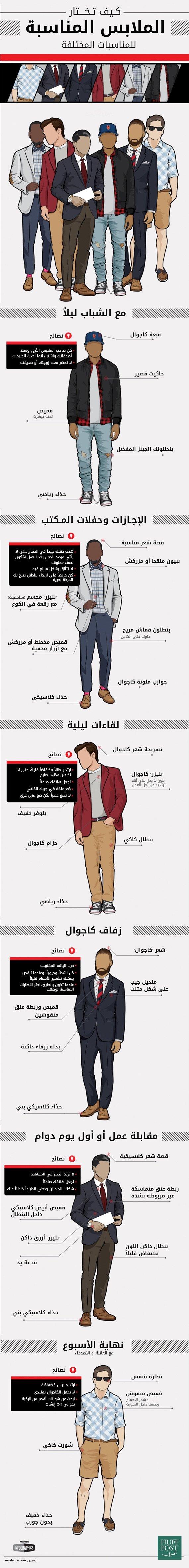 كيف تختار الملابس المناسبة للمناسبات المختلفة #انفوجرافيك