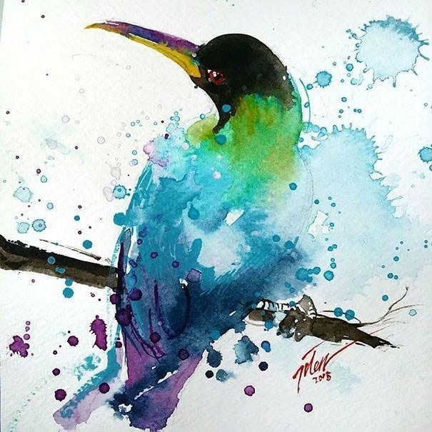 سحر #الألوان_المائية في لوحات الرسام السنغافوري #تيلان_تي #غرد_بصوره 6