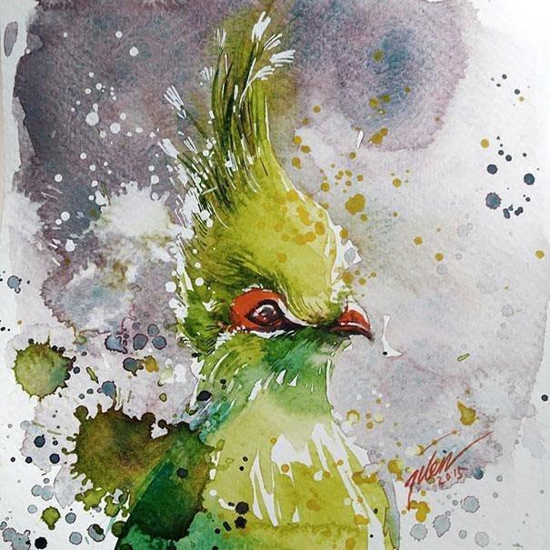 سحر #الألوان_المائية في لوحات الرسام السنغافوري #تيلان_تي #غرد_بصوره 5