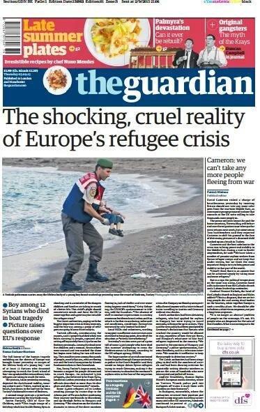 إفتتاحيات الصحف البريطانية الكبرى لهذا اليوم. #غرق_طفل_سوري