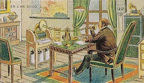 توقعات الفنان الفرنسي فاليمارد للعالم عام ٢٠٠٠ والتي رسمها عام ١٩١٠ - إرسال بريد باستخدام الصوت
