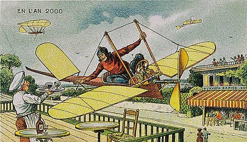 توقعات الفنان الفرنسي فاليمارد للعالم عام ٢٠٠٠ والتي رسمها عام ١٩١٠ - استلام طلبات المطاعم من الطائرة
