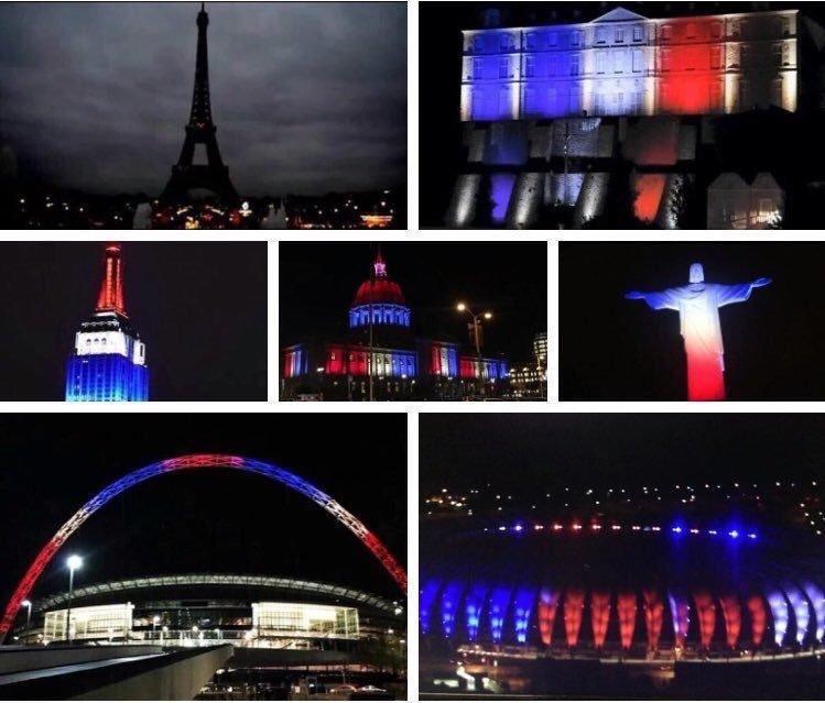 مدن العالم تتضامن مع #فرنسا بتلوين معالمها بألوان العام الفرنسي #باريس