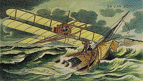 توقعات الفنان الفرنسي فاليمارد للعالم عام ٢٠٠٠ والتي رسمها عام ١٩١٠ - طائرة الانقاذ البحرية