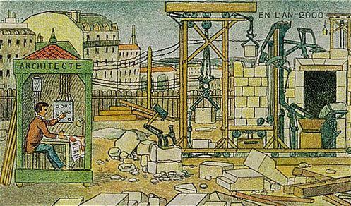 توقعات الفنان الفرنسي فاليمارد للعالم عام ٢٠٠٠ والتي رسمها عام ١٩١٠ - البناء الآلي