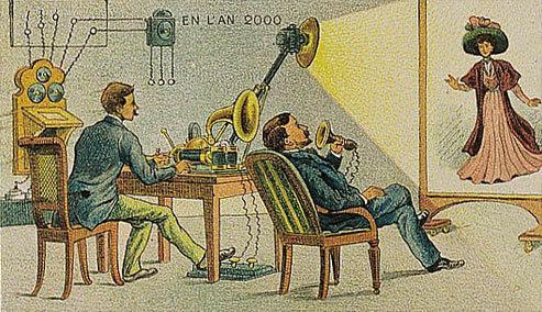 توقعات الفنان الفرنسي فاليمارد للعالم عام ٢٠٠٠ والتي رسمها عام ١٩١٠ - مكالمات الفيديو