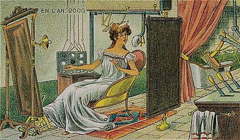 توقعات الفنان الفرنسي فاليمارد للعالم عام ٢٠٠٠ والتي رسمها عام ١٩١٠ - المكياج الآلي