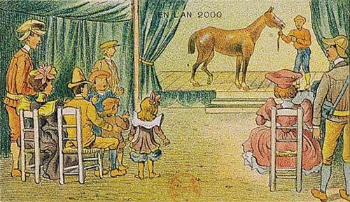 توقعات الفنان الفرنسي فاليمارد للعالم عام ٢٠٠٠ والتي رسمها عام ١٩١٠ - عرض مدفوع لمشاهدة الأحصنة لندرتها