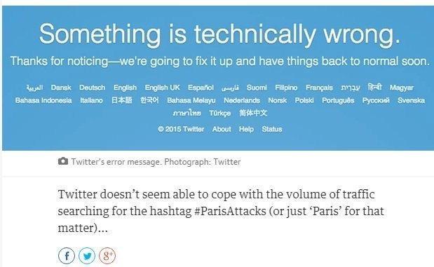 #تويتر يتوقف عن العمل بشكل متكرر بسبب حجم عمليات البحث عن #Parisattacks و كلمة #Paris