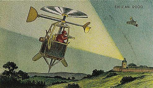 توقعات الفنان الفرنسي فاليمارد للعالم عام ٢٠٠٠ والتي رسمها عام ١٩١٠ - طائرة تجسس