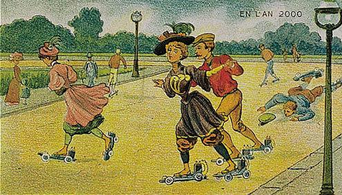 توقعات الفنان الفرنسي فاليمارد للعالم عام ٢٠٠٠ والتي رسمها عام ١٩١٠ - الأحذية الكهربائية