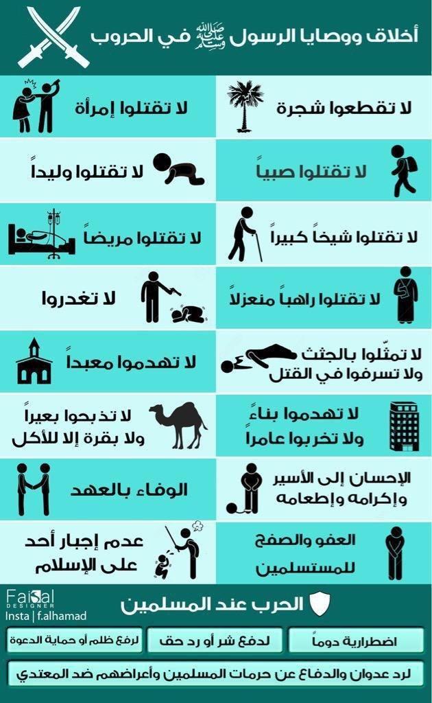وصايا رسول الله محمد صلى الله عليه وسلم في الحروب #انفوجرافيك #انفوجرافيك_عربي