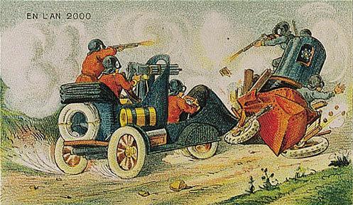 توقعات الفنان الفرنسي فاليمارد للعالم عام ٢٠٠٠ والتي رسمها عام ١٩١٠ - سيارات حربية مدرعة