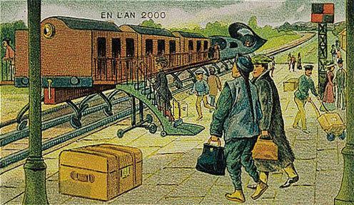 توقعات الفنان الفرنسي فاليمارد للعالم عام ٢٠٠٠ والتي رسمها عام ١٩١٠ - القطار الكهربائي