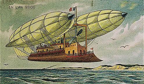 توقعات الفنان الفرنسي فاليمارد للعالم عام ٢٠٠٠ والتي رسمها عام ١٩١٠ - السفينة الطائرة