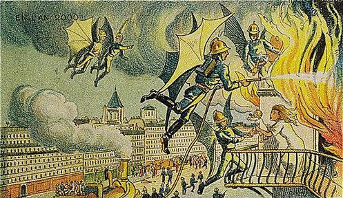توقعات الفنان الفرنسي فاليمارد للعالم عام ٢٠٠٠ والتي رسمها عام ١٩١٠ - الأطفائي الطائر