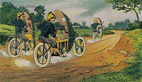 توقعات الفنان الفرنسي فاليمارد للعالم عام ٢٠٠٠ والتي رسمها عام ١٩١٠ - آليات الشرطة المدرعة