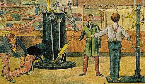 توقعات الفنان الفرنسي فاليمارد للعالم عام ٢٠٠٠ والتي رسمها عام ١٩١٠ - الخياط الآلي