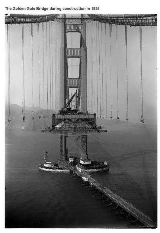 جسر جولدن غيت أثناء بناءه عام ١٩٣٥ #تاريخ