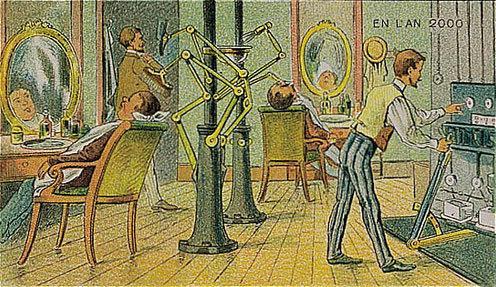 توقعات الفنان الفرنسي فاليمارد للعالم عام ٢٠٠٠ والتي رسمها عام ١٩١٠ - الحلاق الآلي