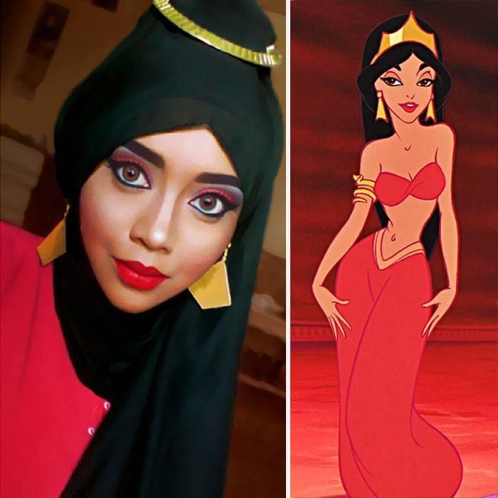الفنانة الماليزية Saraswati محترفة في دهان الوجه والجسم تحول نفسها لأميرات ديزني #غرد_بصورة -4