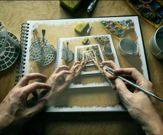 رسم دقيق يظهر الشخص يرسم داخل صورته