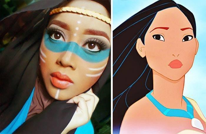 الفنانة الماليزية Saraswati محترفة في دهان الوجه والجسم تحول نفسها لأميرات ديزني #غرد_بصورة -12