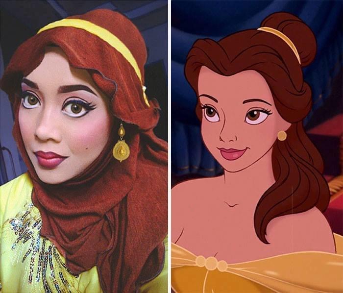 الفنانة الماليزية Saraswati محترفة في دهان الوجه والجسم تحول نفسها لأميرات ديزني #غرد_بصورة -3