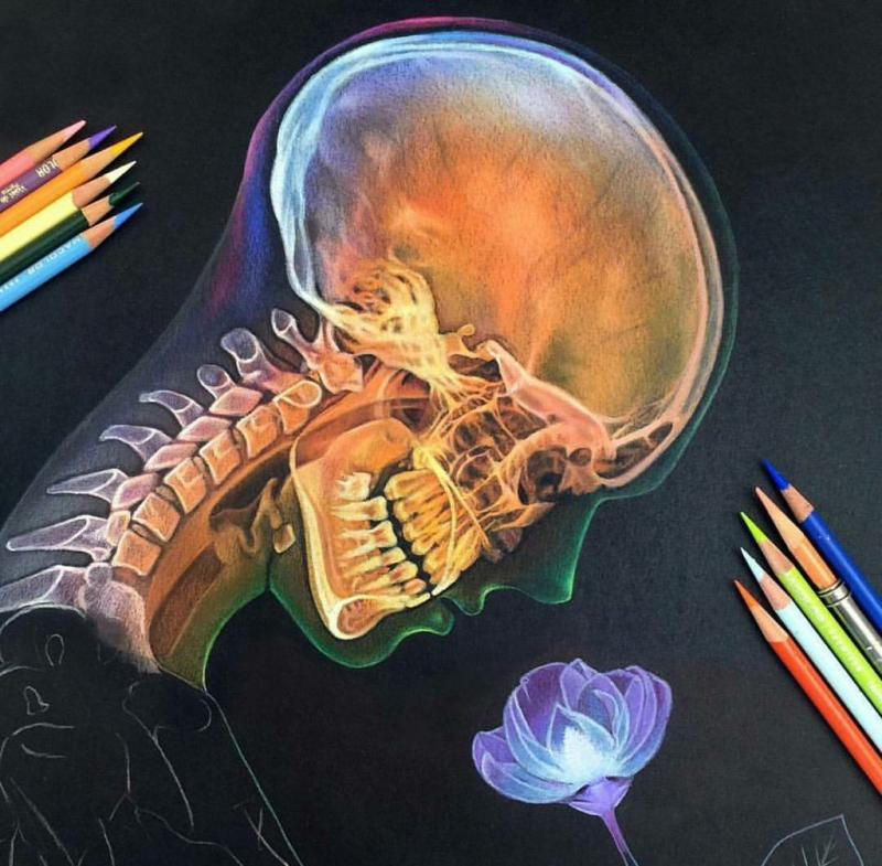رسم غريب ومتقن لصورة أشعة لشخص يشم وردة
