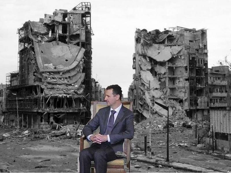 رسم تخيلي لبشار الأسد بعد انسحاب حلفاءه #بوتين_ينسحب_من_سوريا