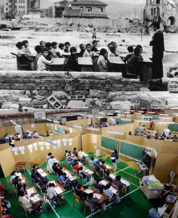 #اليابان بعد قنبلة هيروشيما بشهر وبعد تسونامي بشهر - لا تفريط بالتعليم