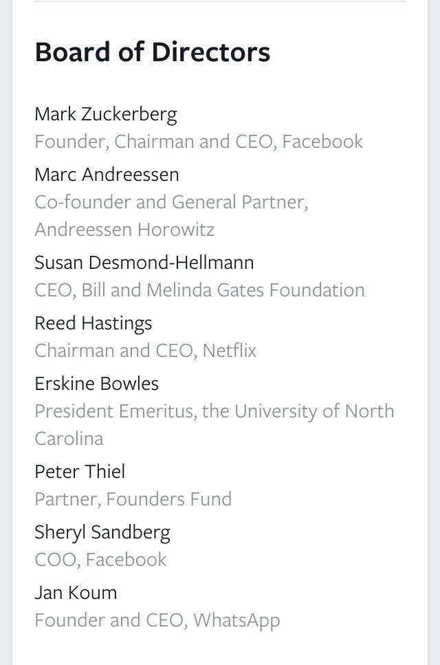 Board of Directors in #Facebook