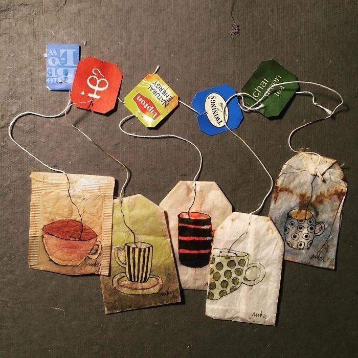 فنانة إيطالية تبدع بالرسم على أكياس الشاي المستعمل - صورة ٤