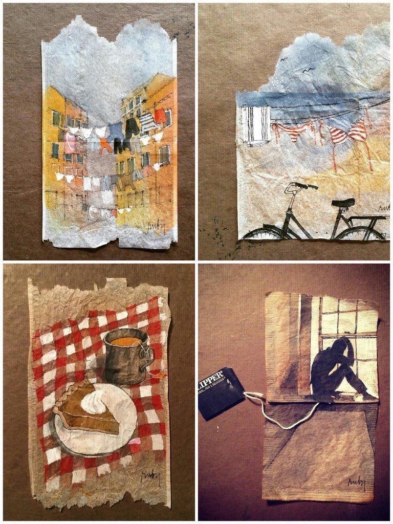فنانة إيطالية تبدع بالرسم على أكياس الشاي المستعمل - صورة ٢