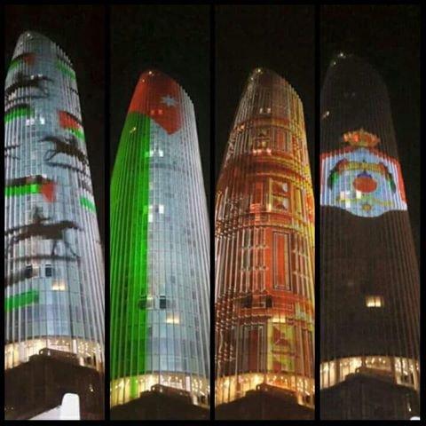 اضاءة أبراج العبدلي احتفاﻵ بعيد #عيد_الاستقلال_70 #الاردن #حب_الاردن