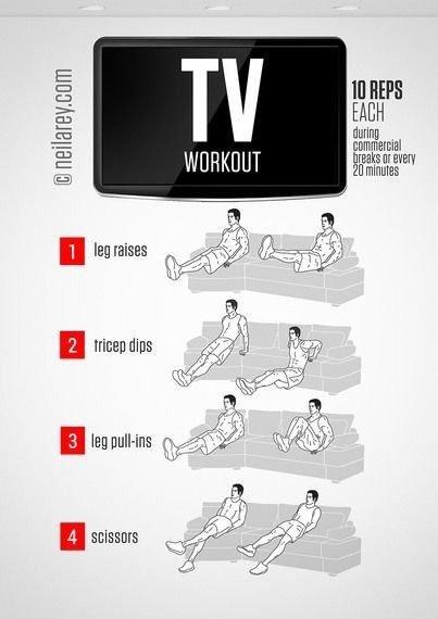 تمارين لشد وتقوية الجسم أثناء الوجود في المنزل - تمرين مشاهدة التلفاز ٢ #تخسيس