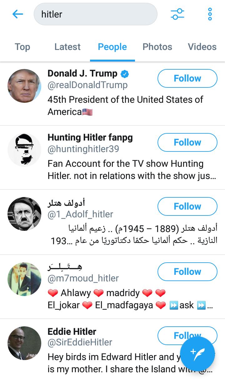 عند البحث عن hitler في موقع #تويتر يظهر @realDonaldTrump في اول النتائج #ترامب