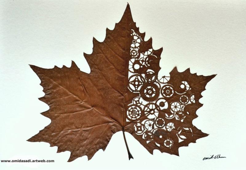 من اعمال الفنان الإيراني #أوميد_أسدي الذي يرسم على ورق الشجر الجاف - صورة ١