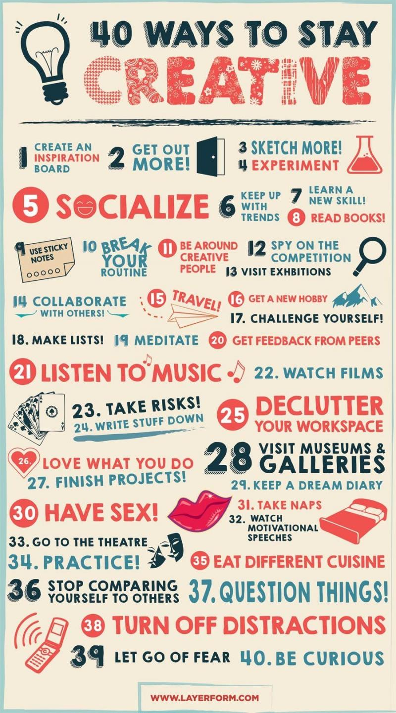 Fourty ways to stay creative #infographic