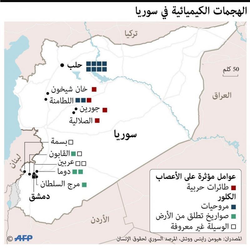 مواقع الهجمات الكيميائيه في #سوريا #انفوجرافيك #انفوجرافيك_عربي