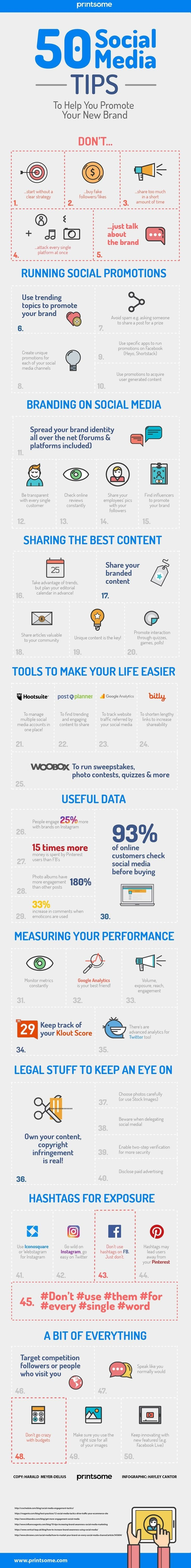 Fifty #Social_Media tips to promote your new brand #SMM #Marketing #Infographic