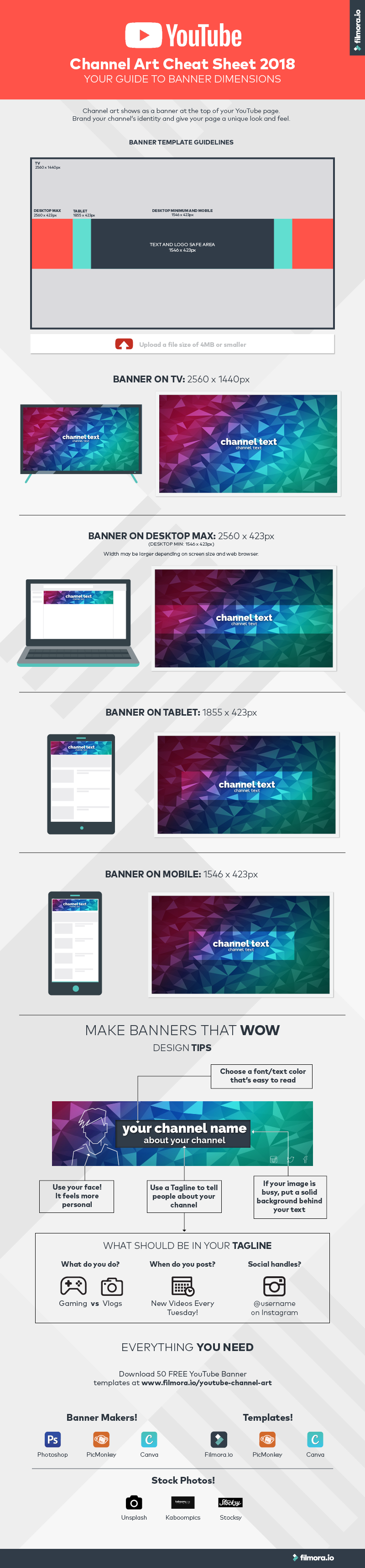 #YouTube Channel Art Cheat Sheet 2018 #Infographic