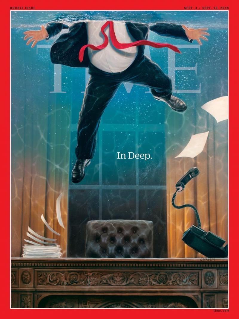 غلاف مجلة التايم الأمريكية يظهر الرئيس الأمريكي #ترامب وهو يغرق بعد الفضائح التي أثارها محاميه السابق