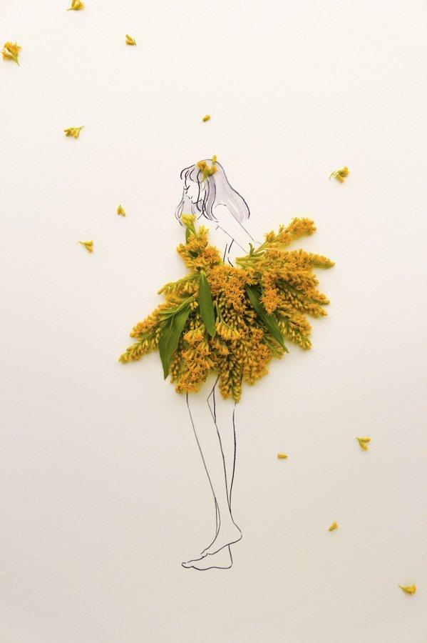 الفنانة اليابانية Hanaco Hanasakura تصمم لوحات #فساتين بالورود وأوراق الشجر #بنات - صورة ٧